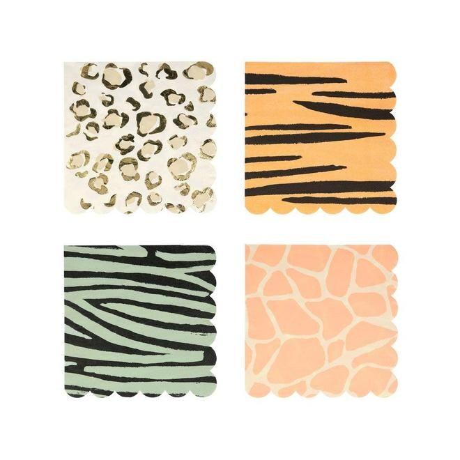 SERVILLETAS GRANDES  SAFARI ANIMAL PRINT